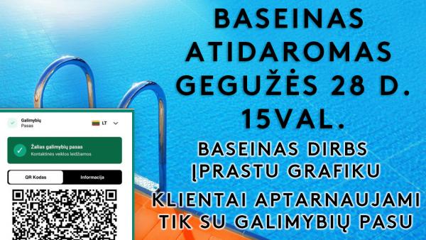 Baseinas priims lankytojus nuo gegužės 28 d. tik su galimybių pasu